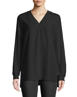 WYATT KNIT TRIM MATTE SILK BLOUSE