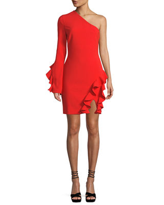 Pia One-Shoulder Long-Sleeve Cocktail Dress With Ruffles, Red