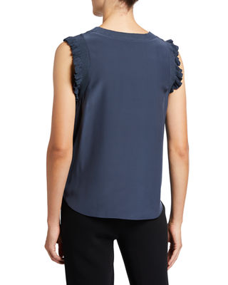 Image 2 of 3: Tous Les Jours Lenore Crewneck Sleeveless Silk Top