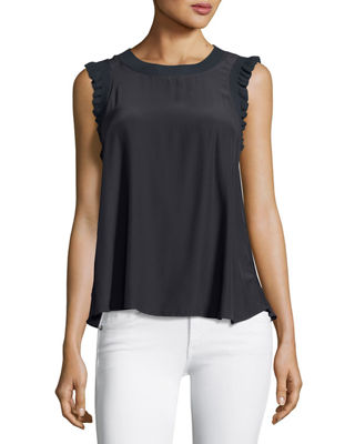 Image 3 of 3: Tous Les Jours Lenore Crewneck Sleeveless Silk Top