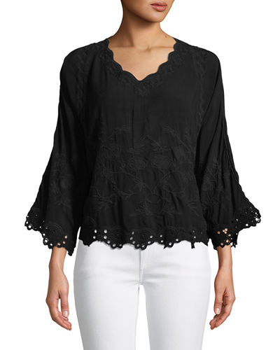 Elica Eyelet-Trim Top, Plus Size