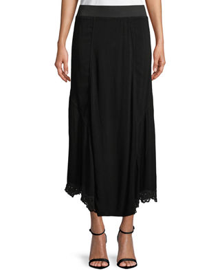 XCVI ELICA EYELET-TRIM LONG SKIRT, PLUS SIZE