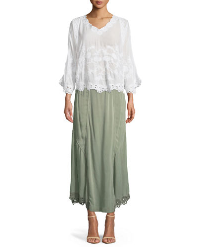 Elica Eyelet-Trim Long Skirt