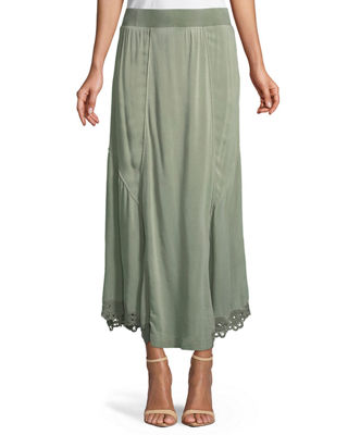 XCVI Elica Eyelet-Trim Long Skirt, Plus Size in Olive Pigment