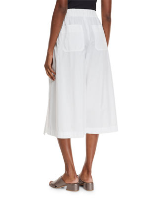 Image 3 of 4: Drawstring Side-Slit Cropped Culotte Pants