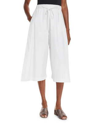 Image 1 of 4: Drawstring Side-Slit Cropped Culotte Pants