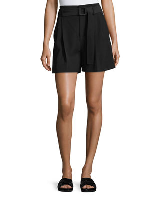 Belted Wide-Leg Shorts in Black