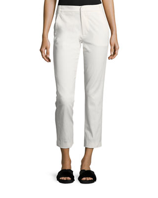 Coin-Pocket Straight-Leg Cropped Chino Pants, White