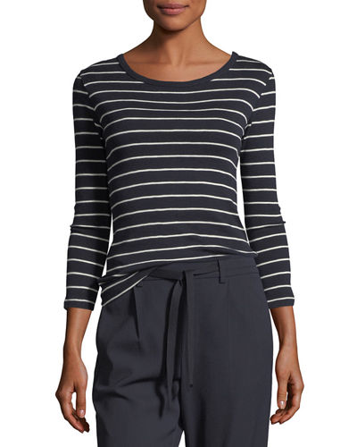 Vince Chalk-Stripe Crewneck 3/4-Sleeve Top and Matching Items