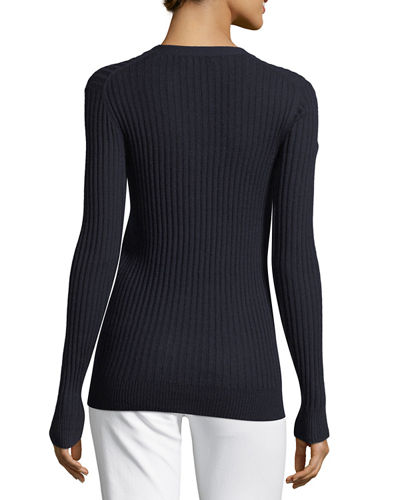 Skinny Rib-Knit Button-Front Cashmere Cardigan