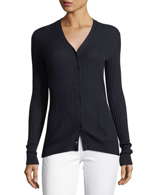 Image 3 of 3: Skinny Rib-Knit Button-Front Cashmere Cardigan