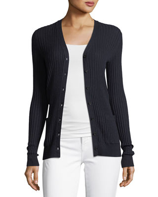 Vince Skinny Rib-Knit Button-Front Cashmere Cardigan and Matching