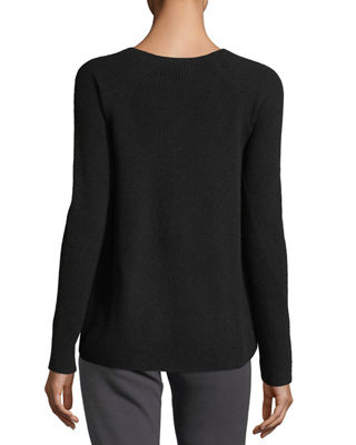 Image 2 of 3: Directional-Rib Cashmere Pullover Sweater