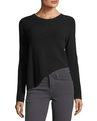 Image 3 of 3: Directional-Rib Cashmere Pullover Sweater