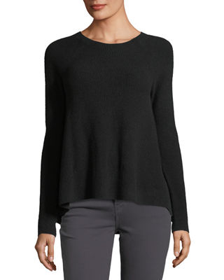 Directional-Rib Cashmere Pullover Sweater