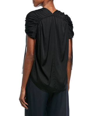 Image 2 of 2: Ruched Short-Sleeve V-Neck Satin Blouse