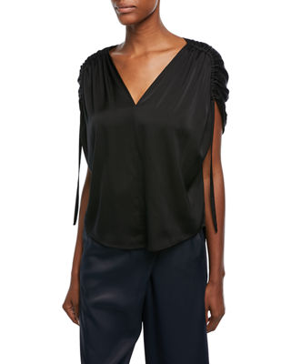 Image 1 of 2: Ruched Short-Sleeve V-Neck Satin Blouse