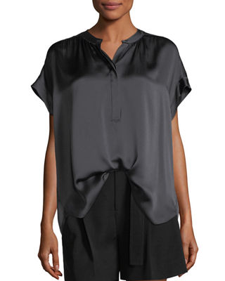 Button-Placket Short-Sleeve Silk Satin Blouse