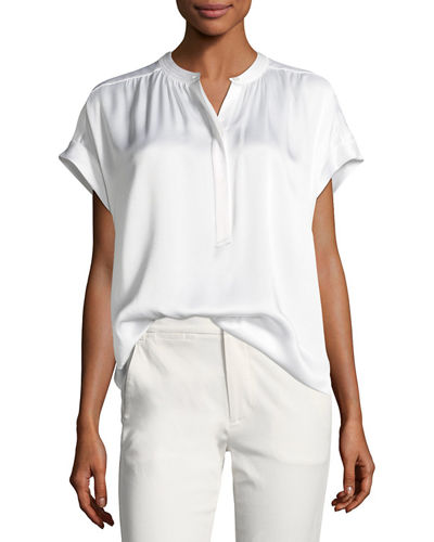 Vince Button-Placket Short-Sleeve Silk Satin Blouse and Matching