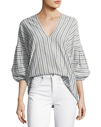 Variegated Stripe Long-Sleeve Pullover Top