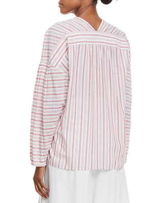 Image 2 of 3: Variegated Stripe Long-Sleeve Pullover Top