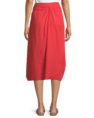Image 2 of 2: Twist-Front A-Line Cotton Midi Skirt