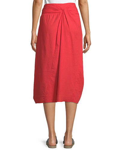 Twist-Front A-Line Midi Cotton Skirt