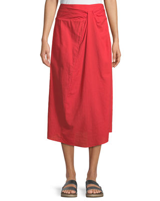 Image 1 of 2: Twist-Front A-Line Cotton Midi Skirt