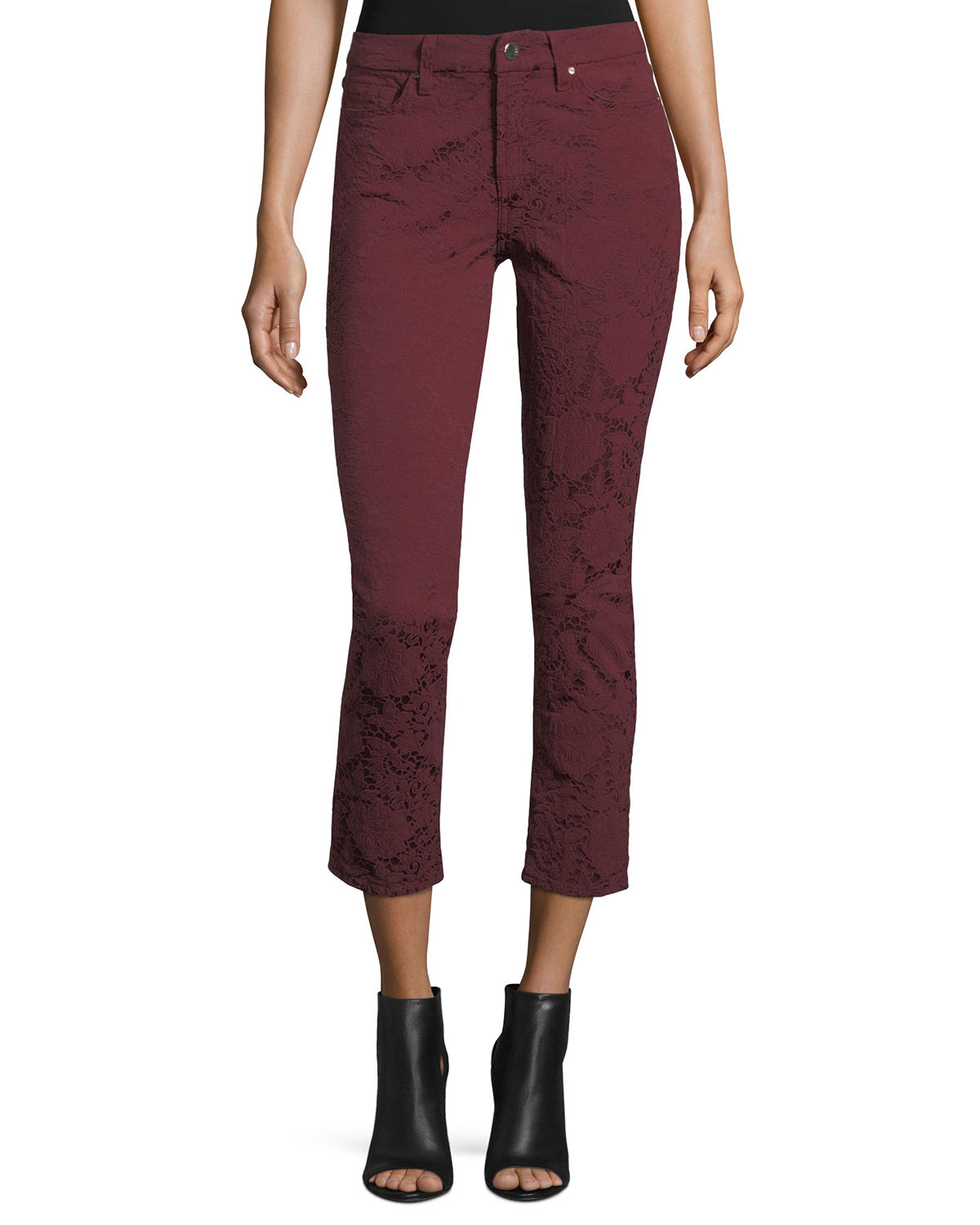 Perforated Jacquard Skinny Ankle Jeans