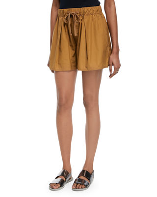 Pleated Self-Tie Cotton Shorts