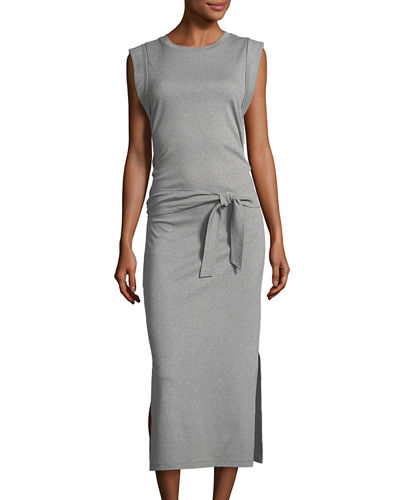 Wrap-Waist Cotton Midi Dress