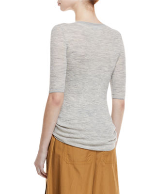 Image 2 of 3: Ribbed Wool Elbow-Sleeve Top