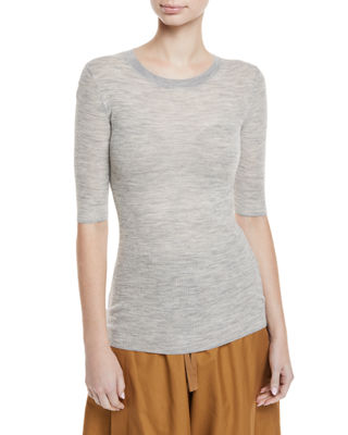 Image 1 of 3: Ribbed Wool Elbow-Sleeve Top