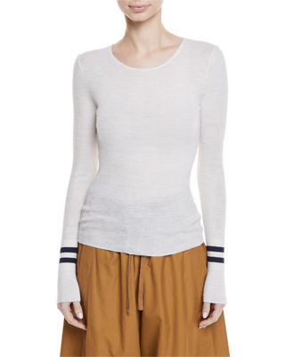 Vince Ribbed Wool Sweater w/ Striped Cuffs and