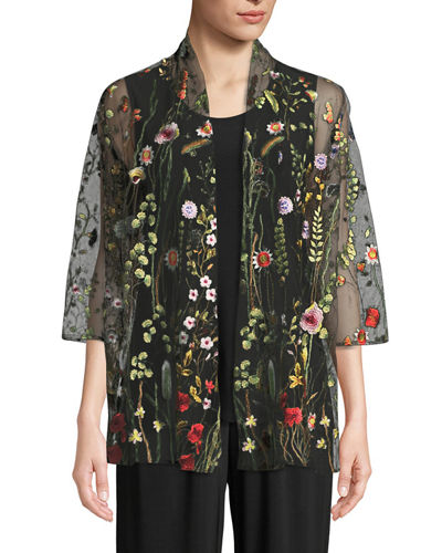 Caroline Rose Garden Walk Embroidered Mesh Cardigan and