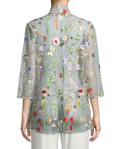 Garden Walk Embroidered Mesh Cardigan