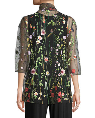 Garden Walk Embroidered Mesh Cardigan, Plus Size