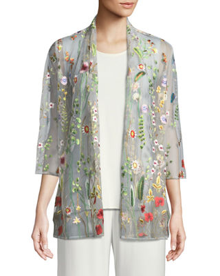 Caroline Rose Garden Walk Embroidered Mesh Cardigan, Plus