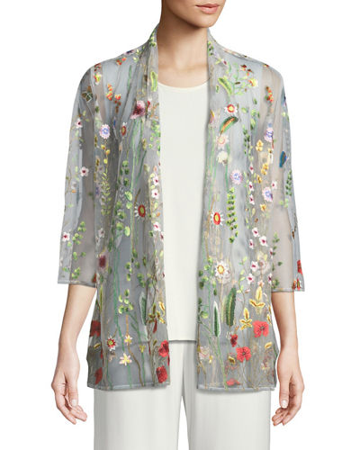 Plus Size Garden Walk Embroidered Mesh Cardigan