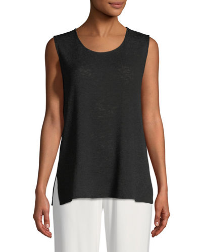 Gauze Knit Longer Tank, Plus Size