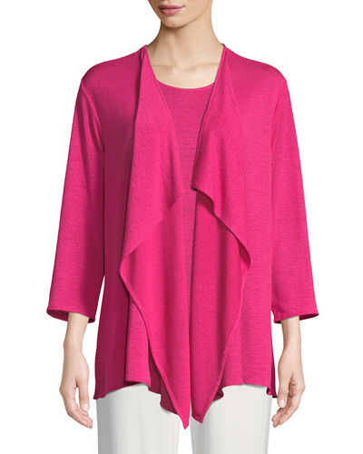 Gauze Knit Draped Cardigan