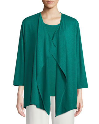 Caroline Rose Gauze Knit Draped Cardigan, Plus Size