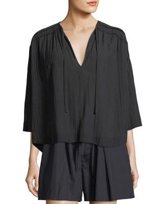 Ruched 3/4-Sleeve Pullover Top