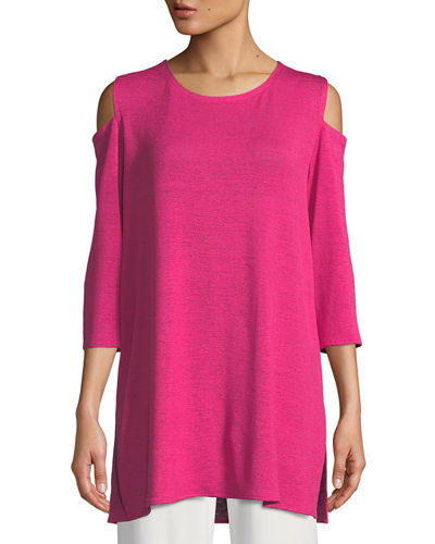 Gauze Knit Cold-Shoulder Tunic, Plus Size
