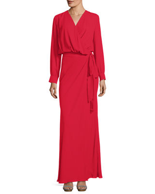 Maquino V-Neck Self-Tie Wrap Dress