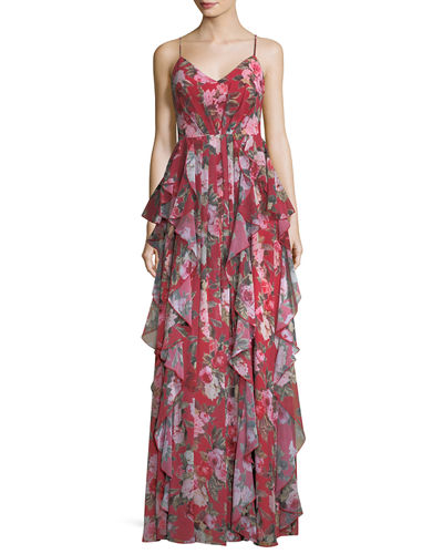 Queen Anne Floral Ruffle Crisscross Dress