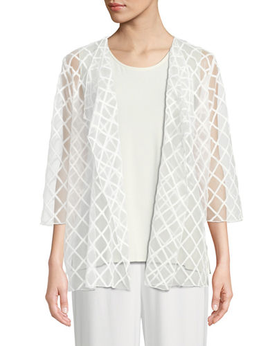 Sheer Draped Cardigan with Latticework Embroidery