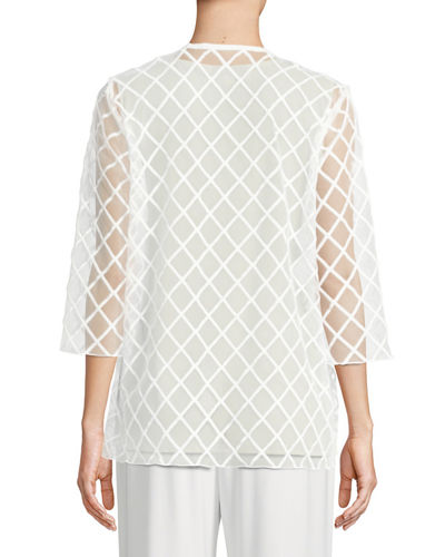Sheer Draped Cardigan with Latticework Embroidery, Plus Size