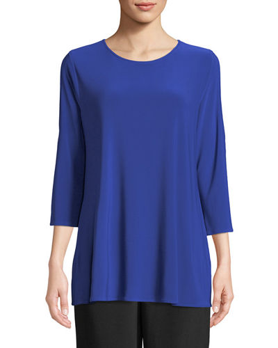 3/4-Sleeve Open-Shoulder Jersey Top