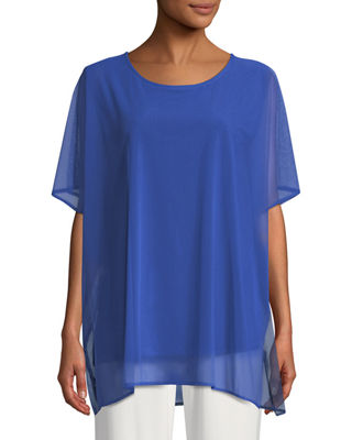 Caroline Rose Illusion Mesh Lined Caftan Top, Plus